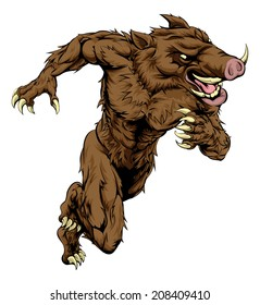 A boar man character or sports mascot charging, sprinting or running