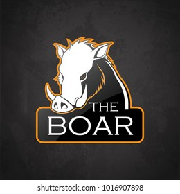 Boar on a dark background. Vector boar with room for text.