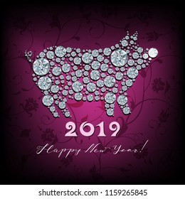 Boar, pig - silhouette of symbol 2019 year, made with shiny diamonds, part of collection Chinese calendar animals. Happy New Year, Holiday  greeting card