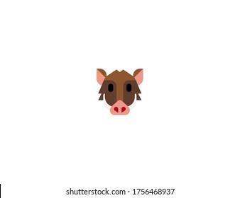 Boar vector flat icon. Isolated Warthog, wild pig emoji illustration