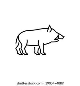 Boar vector icon. Wild hog,  aper illustration. Feral animal sign.