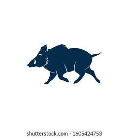 Boar wild pig isolated animal silhouette. Vector hog, warthog swine with tusks