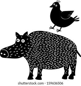 Boar&bird. Hand drawn illustration.