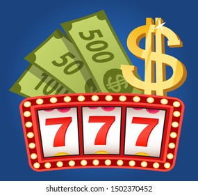Board with 777 icons, element of game machine, jackpot currency award and dollar logo. Game and wealth, casino label, lottery or fortune, money. Vector illustration in flat cartoon style