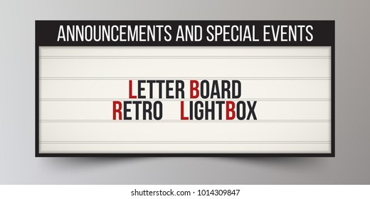 Board for announcements. Classic letter board for your business or advertising. Vintage billboard or bright signboard. Place for theater ads. Custom marquee sign. Cinema lightbox. LED. Vector illustra