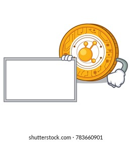 With board BitConnect coin character cartoon