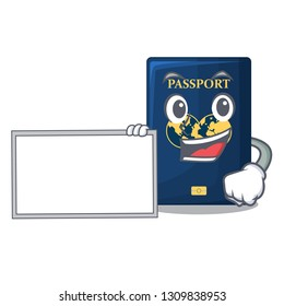 With board blue passport in the cartoon form