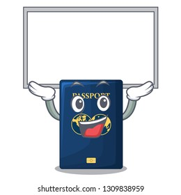 Up board blue passport in the cartoon form