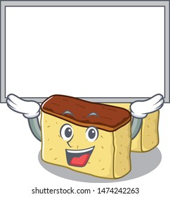 Up board castella cake isolated in the cartoon