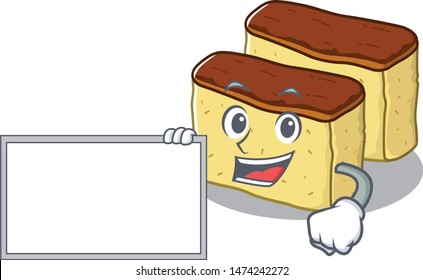 With board castella cake isolated in the cartoon