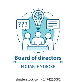 Board of directors concept icon. Business meeting, brainstorming idea thin line illustration. Corporate problem solving. Executive staff and top management. Vector isolated drawing. Editable stroke