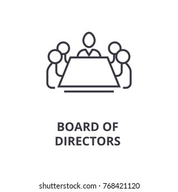 board of directors line icon, outline sign, linear symbol, vector, flat illustration