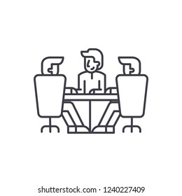 Board of directors meeting line icon concept. Board of directors meeting vector linear illustration, symbol, sign