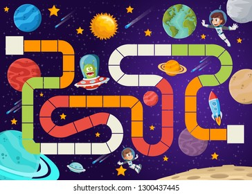 Board game with astronaut cartoon children and alien spaceship flying in the space.