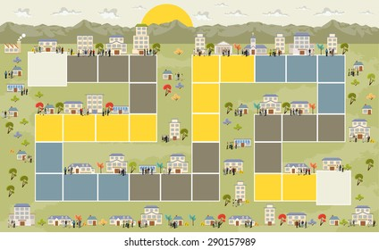 Board game with a block path on the city with people