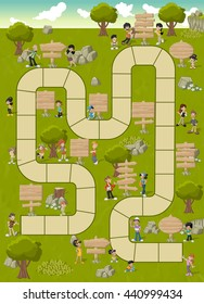 Board game with a block path on a green park with happy cartoon people and wooden sign boards