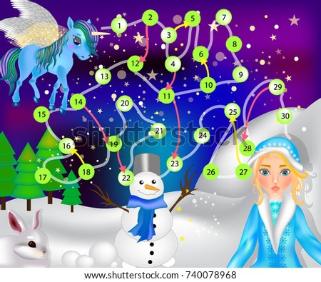 b05cee129ab8 Board Game Children Winter Fairytale Snow Stock Vector (Royalty Free ...