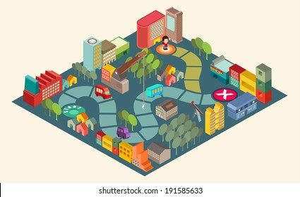 Board game  with city building  and people over path.Vector illustrator