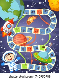 Board game with cosmonaut, ufo, rocket, planet and stars