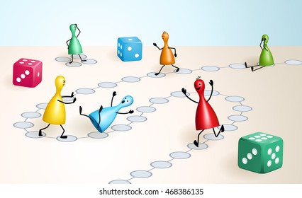 Board game with dices and ludo figures, that behave well or badly like real people