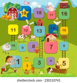 Board game with farm animals