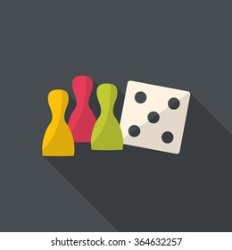 Board game figure with white dice. Ludo figures. Flat design.