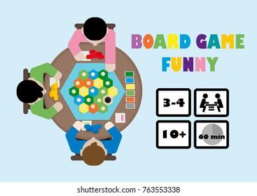 Board Game Funny. Flat illustration.