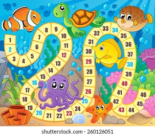 Board game image with underwater theme 1 - eps10 vector illustration.