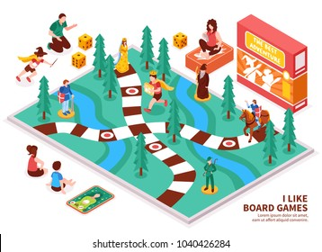 Board game isometric composition with people including kids and adults, desktop field, figures, cards, dice vector illustration