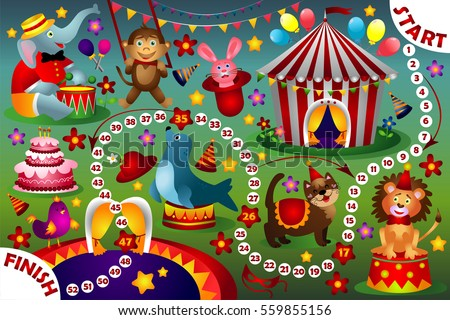Board Game Kids Cartoon Circus Stock Vector Royalty Free