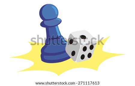 Board Game Piece One Dice Stock Vector Royalty Free 271117613