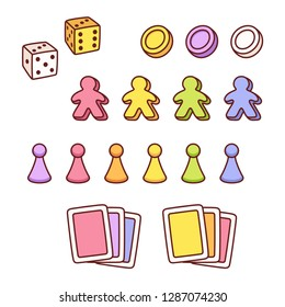 Board game pieces set in cute hand drawn cartoon style. Different markers, playing cards and dice. Isolated vector clip art illustration collection.