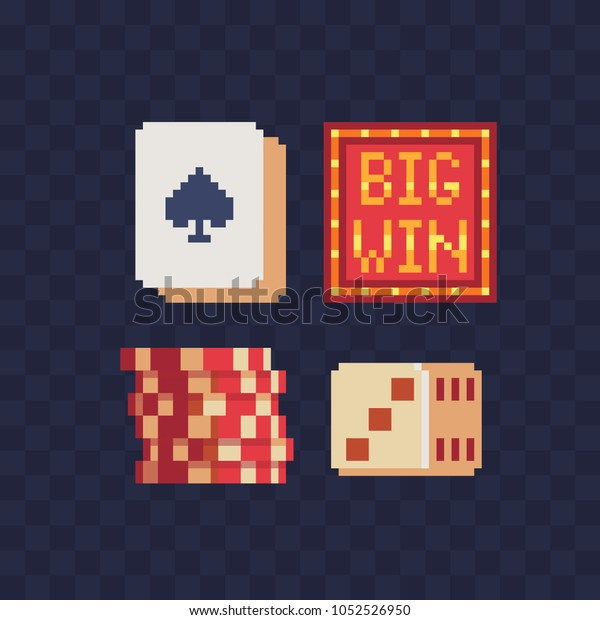 Board Game Poker Pixel Art Icons Stock Vector Royalty Free