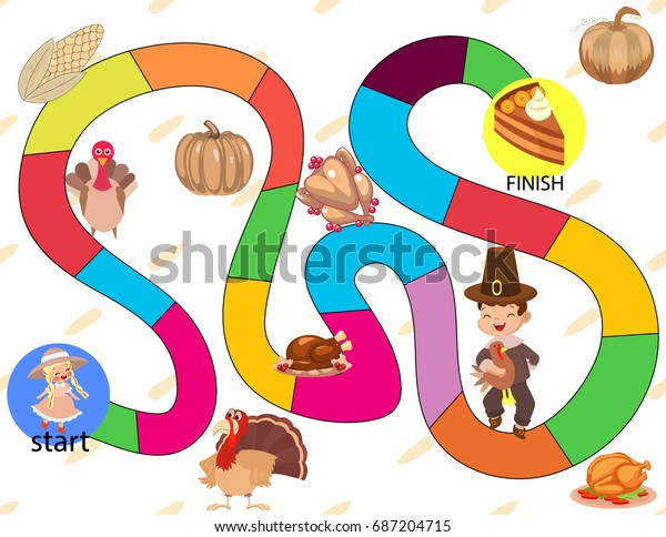 Board Game Turkey Pumpkins Pie Children Stock Vector