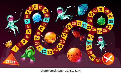 Board game vector illustration. Astronauts in space boardgame strategy kid cartoon design template or racing tabletop game with dice to start and finish cosmonauts route in space planets