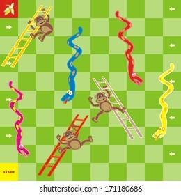 board game, vector illustration - snakes and monkeys