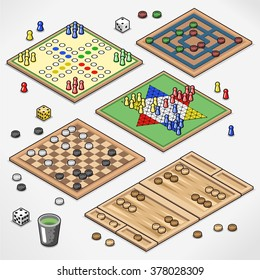 Board games collection with pawns, dices and dice cup (isometric view)