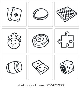 Board games icons: card, go, chess, mafia, checkers, puzzles, bingo, dominoes, dice. Vector Illustration.