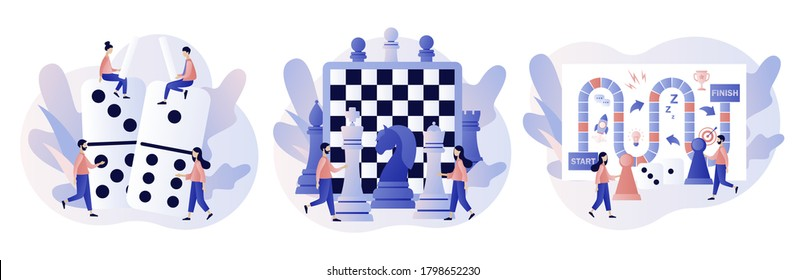 Board games. Tiny people playing and winning chess, domino, game cards and dice. Leisure time activity, whole family or friends activity. Modern flat cartoon style. Vector illustration