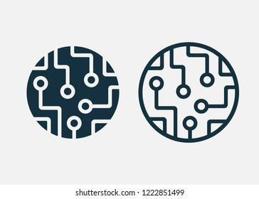 Сircuit board icon isolated on white background. Vector illustration. Eps 10.