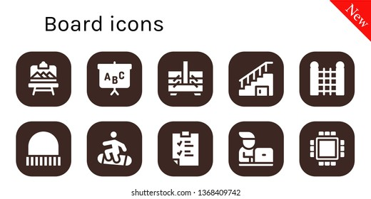 board icon set. 10 filled board icons.  Simple modern icons about  - Artboard, Blackboard, Sewing box, Stairs, Fence, Cap, Snowboard, Clipboard, Student, Cpu