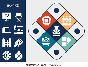 board icon set. 13 filled board icons. Simple modern icons about  - Canteen, Chips, Fence, Cutting board, Cap, Adze, Presentation, Director, Classroom, Cpu, Artboard, Domino