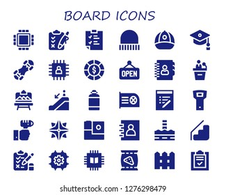 board icon set. 30 filled board icons. Simple modern icons about  - Cpu, Clipboard, Cap, Mortarboard, Snowboard, Chip, Chips, Open, Agenda, Presentation, Artboard, Escalator down