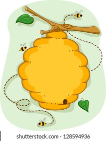 Board Illustration of a Beehive Surrounded by Bees