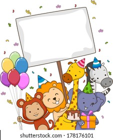 Board Illustration Featuring Safari Animals Carrying Different Party Supplies