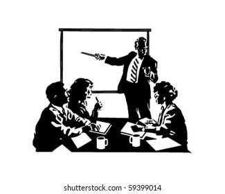 Board Meeting - Retro Clip Art