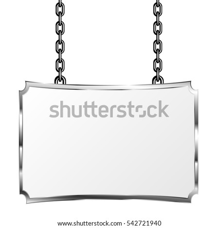 Board Metal Frame Hanging On Chains Stock Vector (Royalty Free ...
