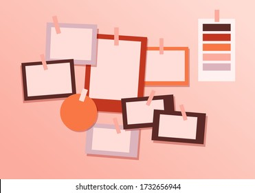 Board mood template. Modern brand mood concept design template empty for messages minimalistic color interior fashionable vector flat presentation corporate personal.