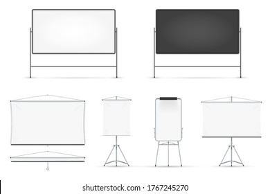 Board set. Realistic blank magnetic board with metal frame, on tripod, hanged on wall set isolated on white background. Vector whiteboard for seminar, presentation, training, education illustration