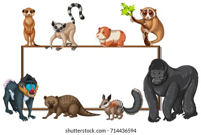 Board template with wild animals illustration